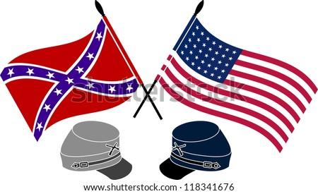 American Civil War. stencil. first variant. vector illustration - stock vector