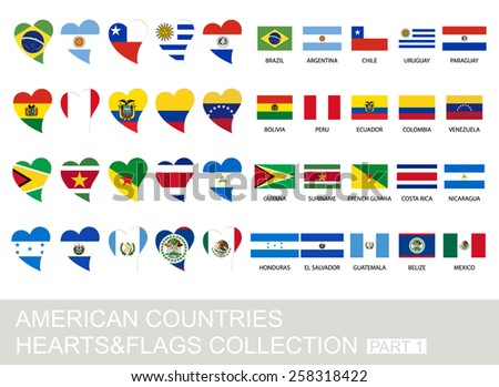 American countries set, hearts and flags, 2  version, part 1 - stock vector