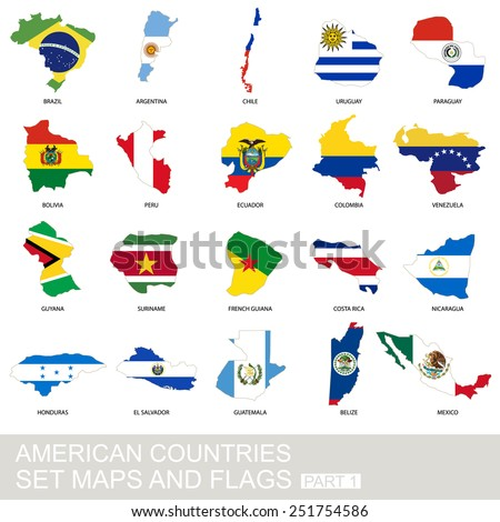 American countries set, maps and flags, part 1 - stock vector