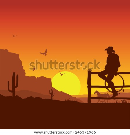 American Cowboy on wild west sunset landscape in the evening.Vector illustration - stock vector