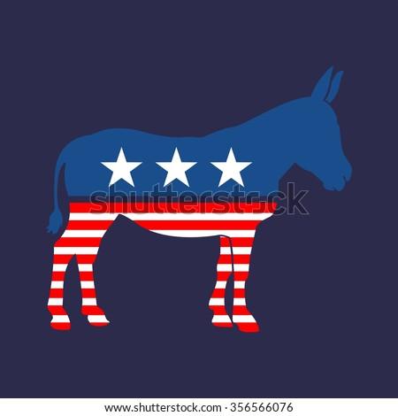 American Democrat Mule Vector - stock vector