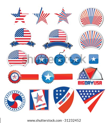 american design set - independence day - stock vector