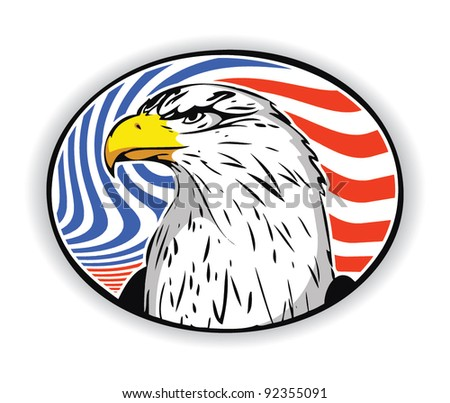 American eagle symbol with flag - vector - stock vector
