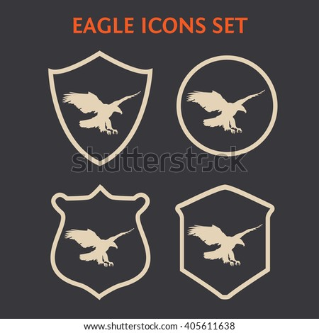 American Eagle Symbols Set Hand Drawn Stock Vector 405611638