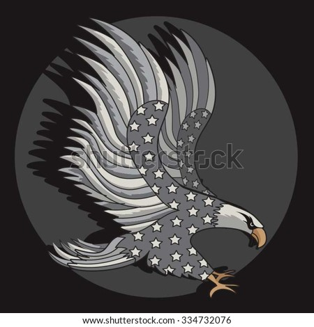 American eagles illustration, typography, t-shirt graphics, vectors - stock vector