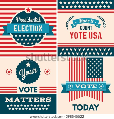 American election badges and vote logo graphics, design elements, election united states, banner collection to encourage voting 2016 elections. Vintage elections, campaign and voting signs set. - stock vector