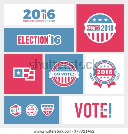 American election badges and vote logo graphics for 2016 - stock vector
