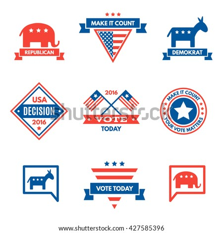 American election badges and vote logo, labels, design elements, United States, banner collection to encourage voting 2016 elections. Vintage elections, campaign and voting signs set. - stock vector