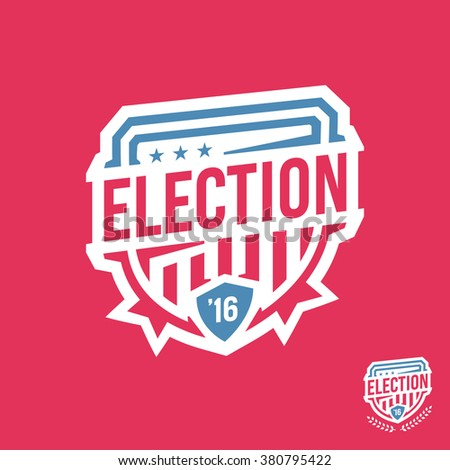 American election emblem badge logo with 2016 text - stock vector