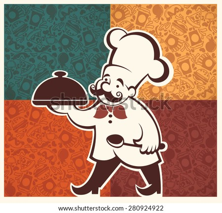 american fastfood pattern and cartoon chef image - stock vector