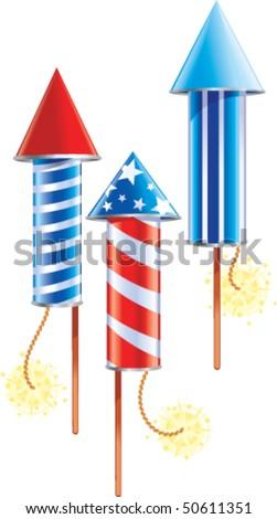 American Fireworks - stock vector