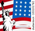American flag and statue of liberty on dotted  background for 4th July American Independence Day and other events. EPS 10. Can be use as banner, poster and flyer. - stock vector