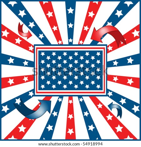 American flag background with stars and stripes symbolizing 4th july independence day. Raster also available. - stock vector