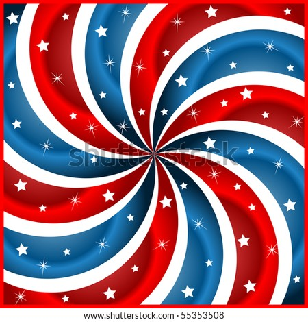 American flag background with stars and swirly stripes symbolizing 4th july independence day. Raster also available.