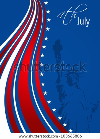 American flag background with wave pattern and stars and stripes symbolizing of 4th July American Independence Day. EPS 10. - stock vector
