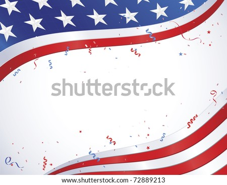 American Flag border design with confetti and ribbons - stock vector