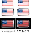 American Flag Buttons - stock vector