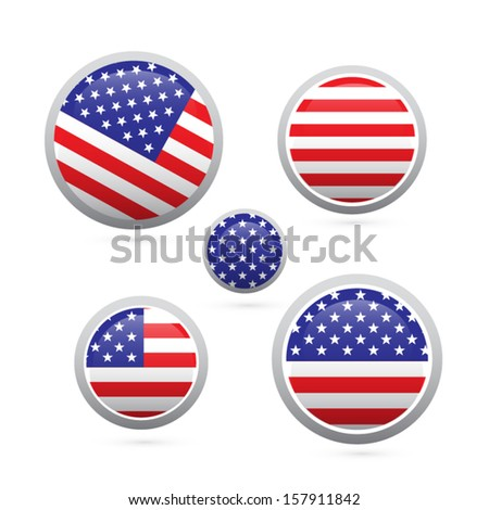 american flag buttons set isolated on white background - stock vector