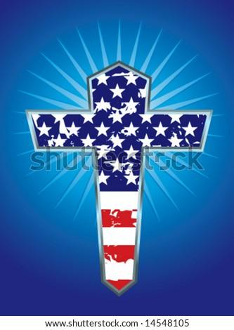 American flag cross vector illustration - stock vector