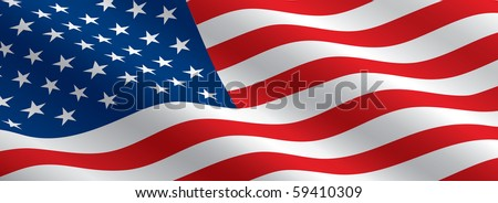 American Flag Flowing - stock vector