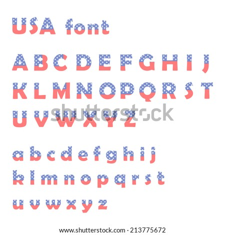 American flag font isolated on white - stock vector