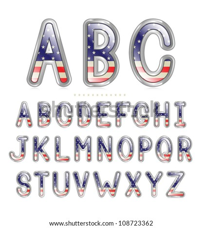 American flag font with a metallic border and reflection. Eps 10 Vector. - stock vector