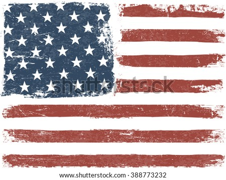 American Flag Grunge Background. Vector Template. Horizontal orientation.