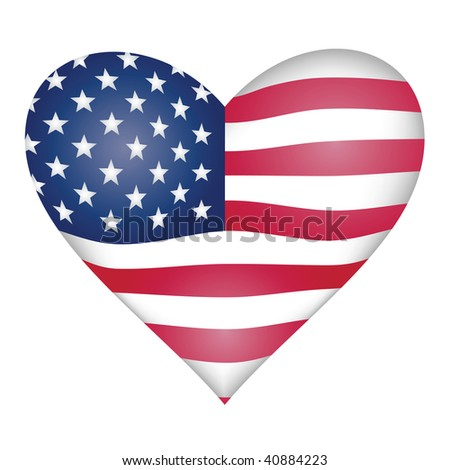 American flag heart - stock vector