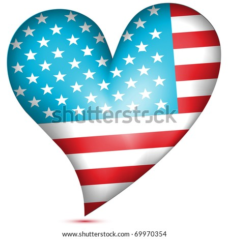 American flag heart.Vector