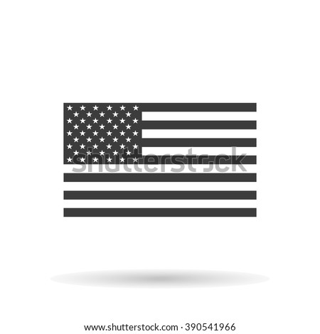 American flag icon with shadow, isolated on a white background, stylish vector illustration for web design - stock vector