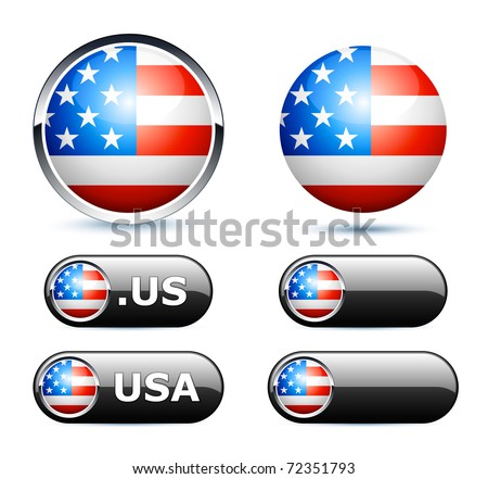 american flag icons - stock vector