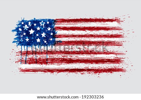 American flag in grunge style. EPS 10. - stock vector