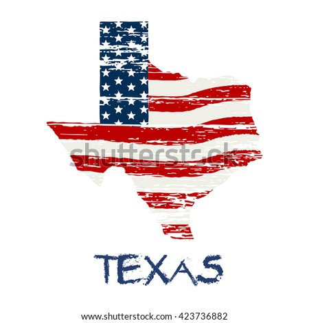American flag in Texas map. Vector grunge style - stock vector