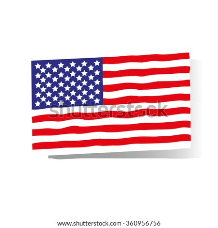 American flag of high on a white background