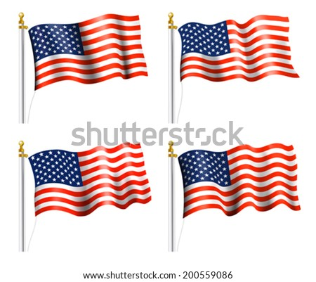 American Flag on Flag Pole - stock vector
