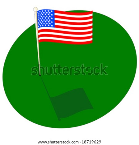 American flag on golf green with pole - stock vector