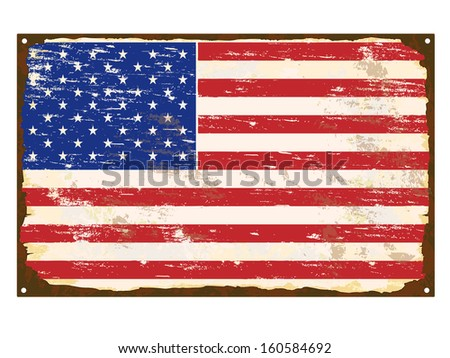 American flag on rusty old enamel sign  - stock vector