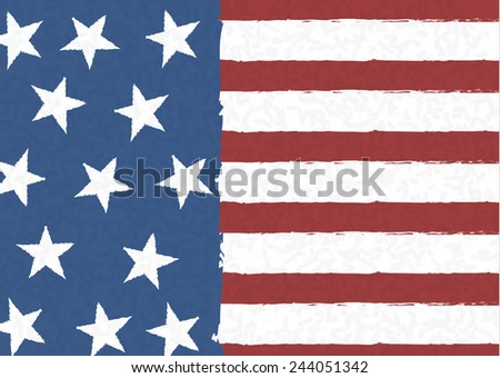 American flag on scribble abstract pattern, Vector - stock vector