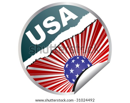 american flag on sticker vector illustration - stock vector