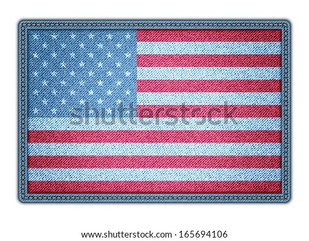 American flag on the jeans texture. Vector eps10 - stock vector