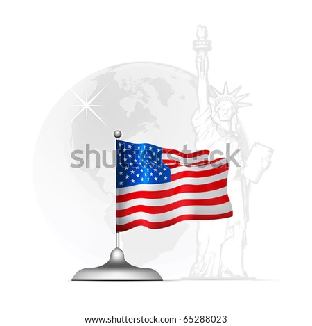 American flag on the stand at the background of statue liberty - stock vector