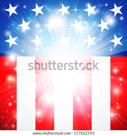 American flag patriotic background with stars and stripes and space for text in the center - stock vector