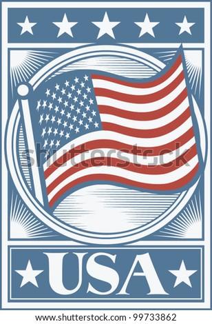 American Flag Poster (USA flag poster, USA design) - stock vector