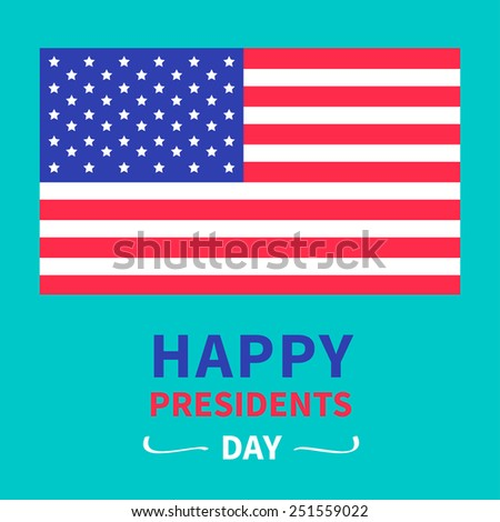 American flag Presidents Day background flat design Card Vector illustration - stock vector