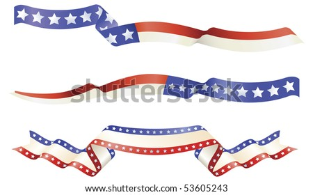 American flag red white blue banner designs - stock vector