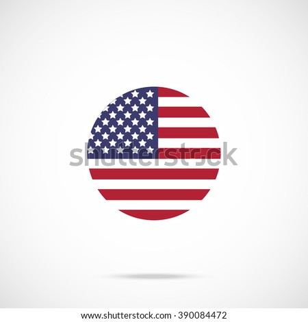 American flag round icon. US flag icon with accurate official color scheme. Premium quality flag of the United States in circle. Vector icon isolated on gradient background - stock vector