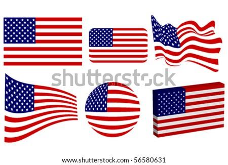 American Flag Set - stock vector