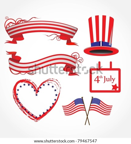 American flag stylized background - stock vector