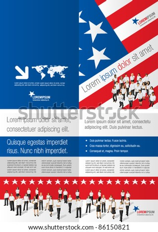 American flag template for advertising brochure with people - stock vector