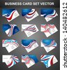 American Flag 4th july 12 business card set collection design vector - stock vector